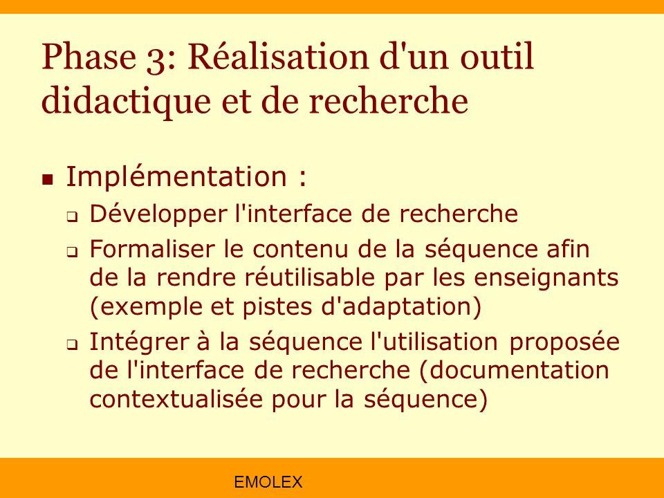 Phase 3: Réalisation d un outil didactique et de recherche