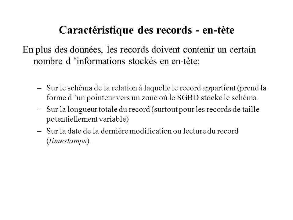 Caractéristique des records - en-tète