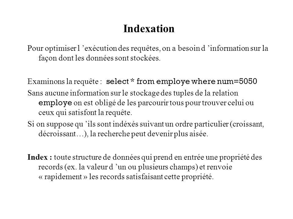 Indexation Pour optimiser l 'exécution des requêtes, on a besoin d 'information sur la façon dont les données sont stockées.