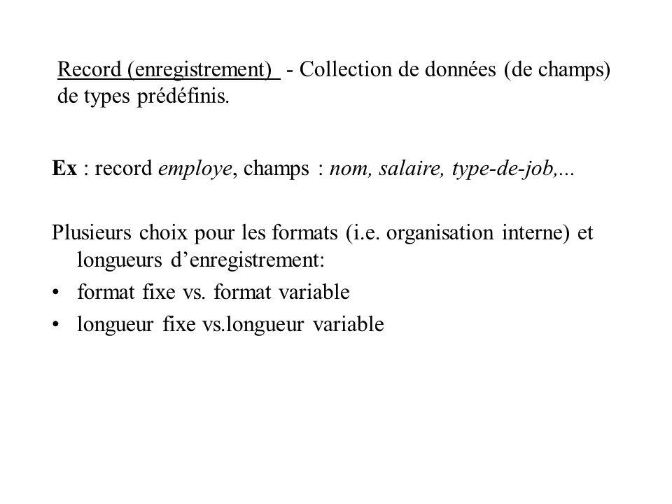 Record (enregistrement) - Collection de données (de champs) de types prédéfinis.