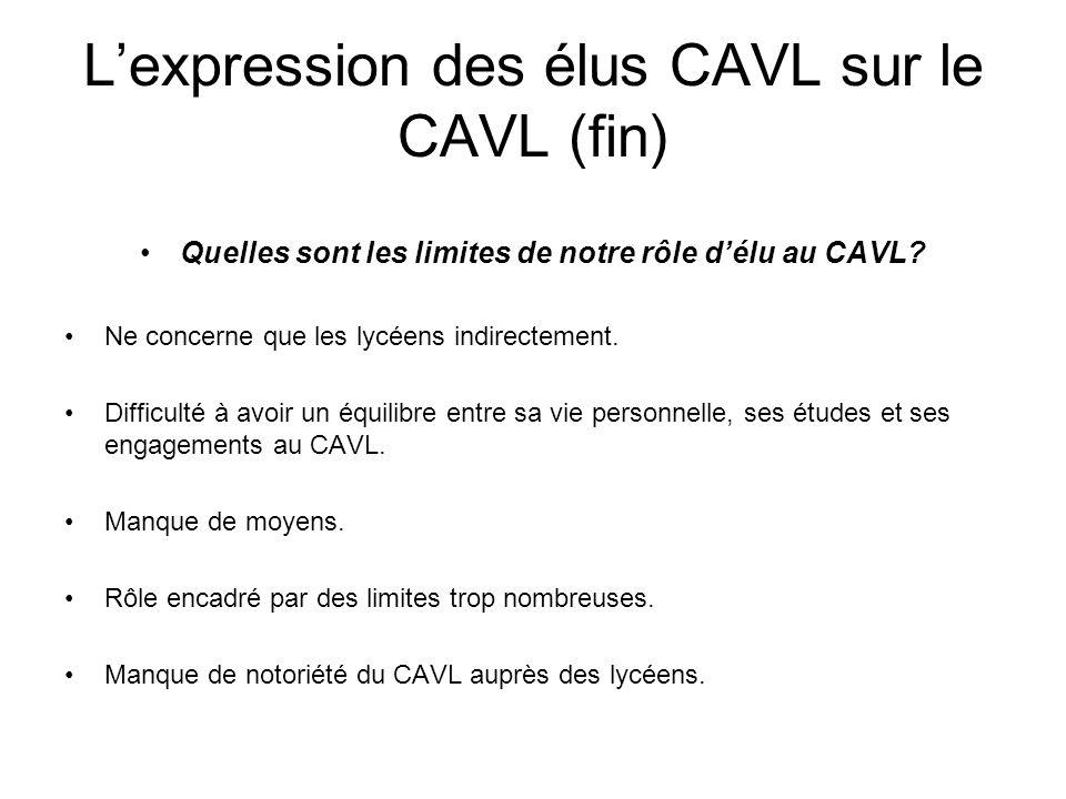 L'expression des élus CAVL sur le CAVL (fin)