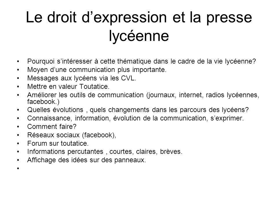 Le droit d'expression et la presse lycéenne