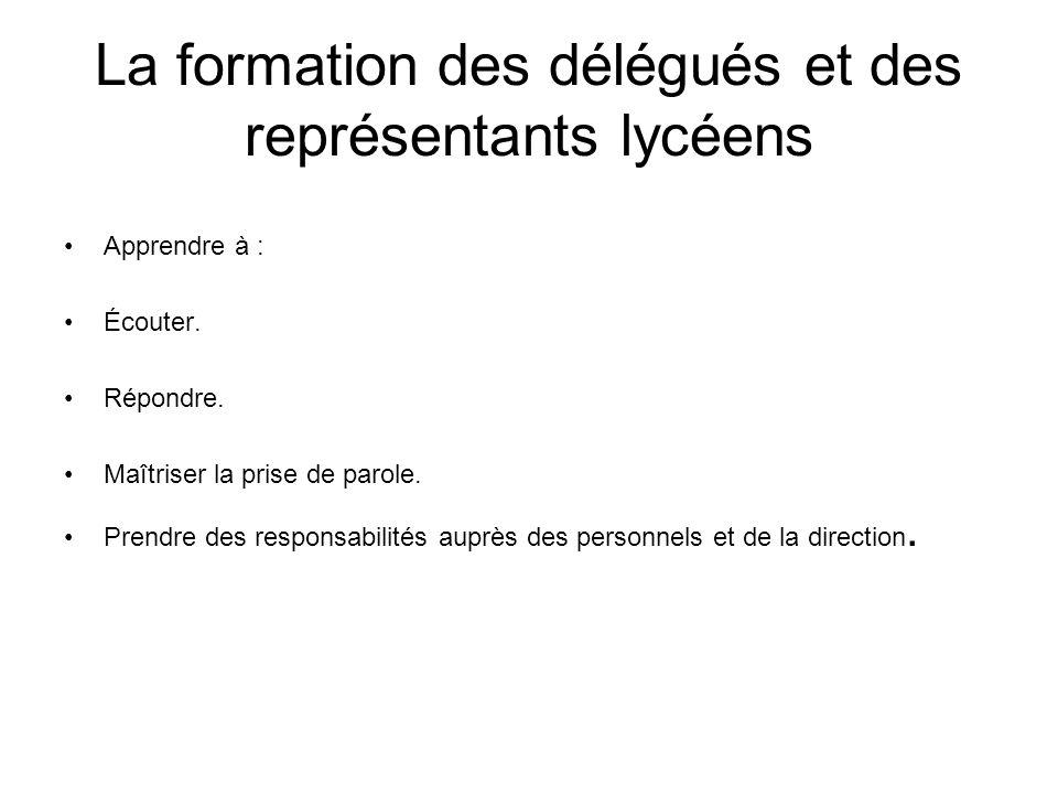 La formation des délégués et des représentants lycéens