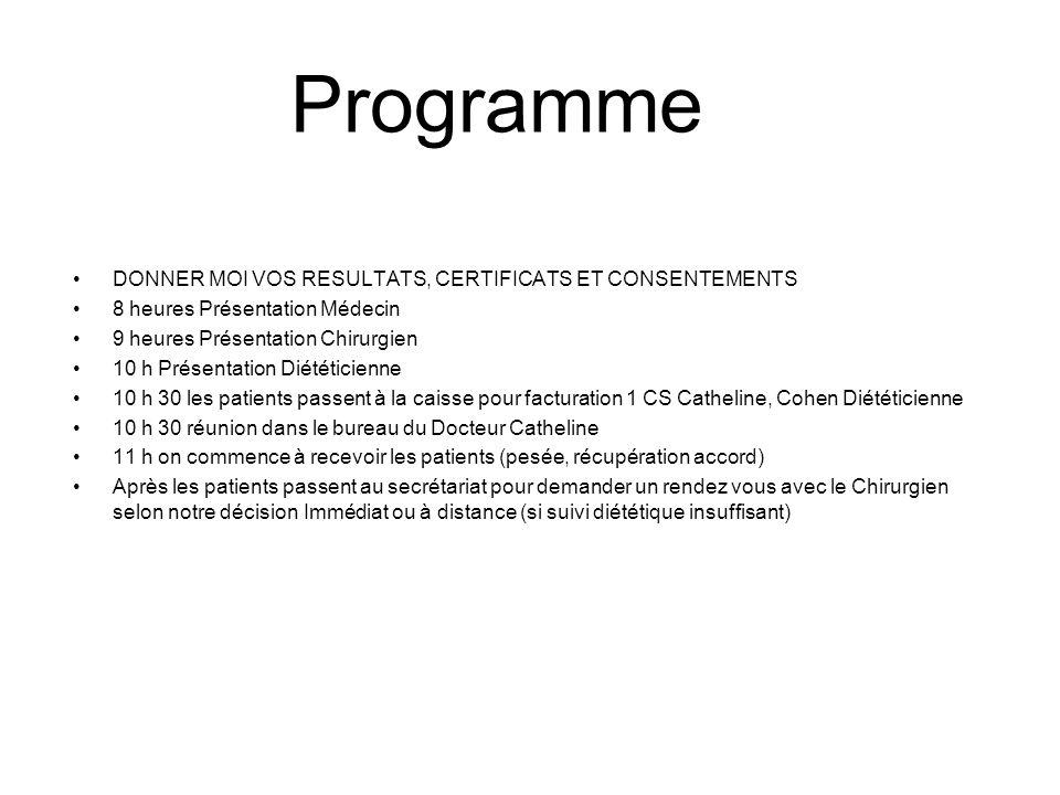 Programme Menu DONNER MOI VOS RESULTATS, CERTIFICATS ET CONSENTEMENTS