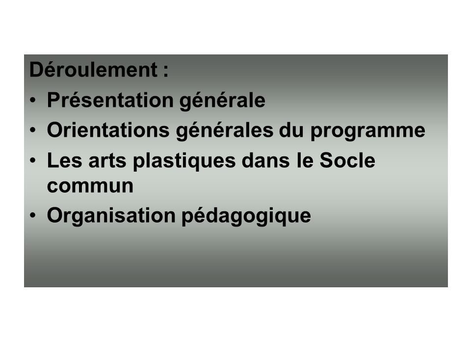 Déroulement : Présentation générale. Orientations générales du programme. Les arts plastiques dans le Socle commun.