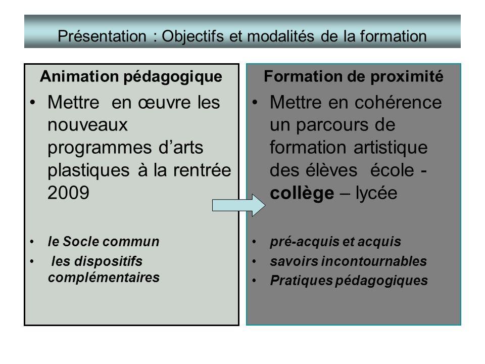 Présentation : Objectifs et modalités de la formation