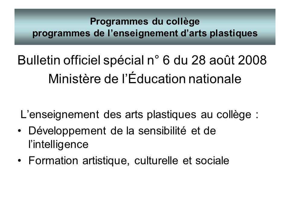 Programmes du collège programmes de l'enseignement d'arts plastiques
