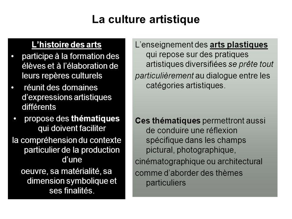 La culture artistique L'histoire des arts