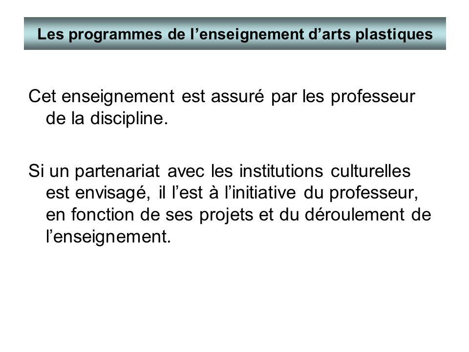 Les programmes de l'enseignement d'arts plastiques