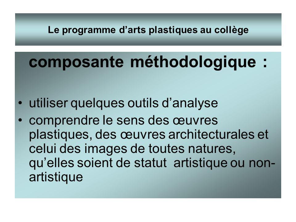 Le programme d'arts plastiques au collège composante méthodologique :