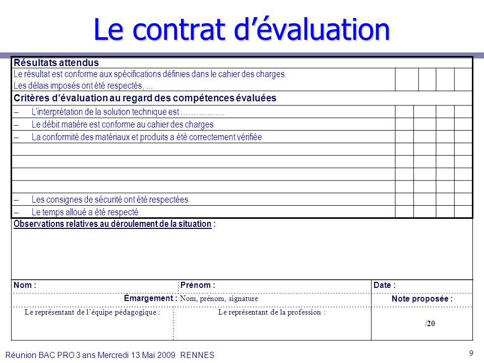 Le contrat d'évaluation