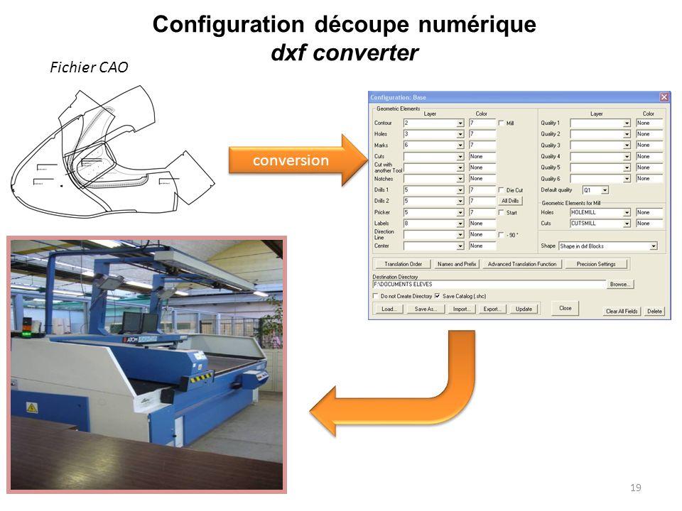 Configuration découpe numérique dxf converter
