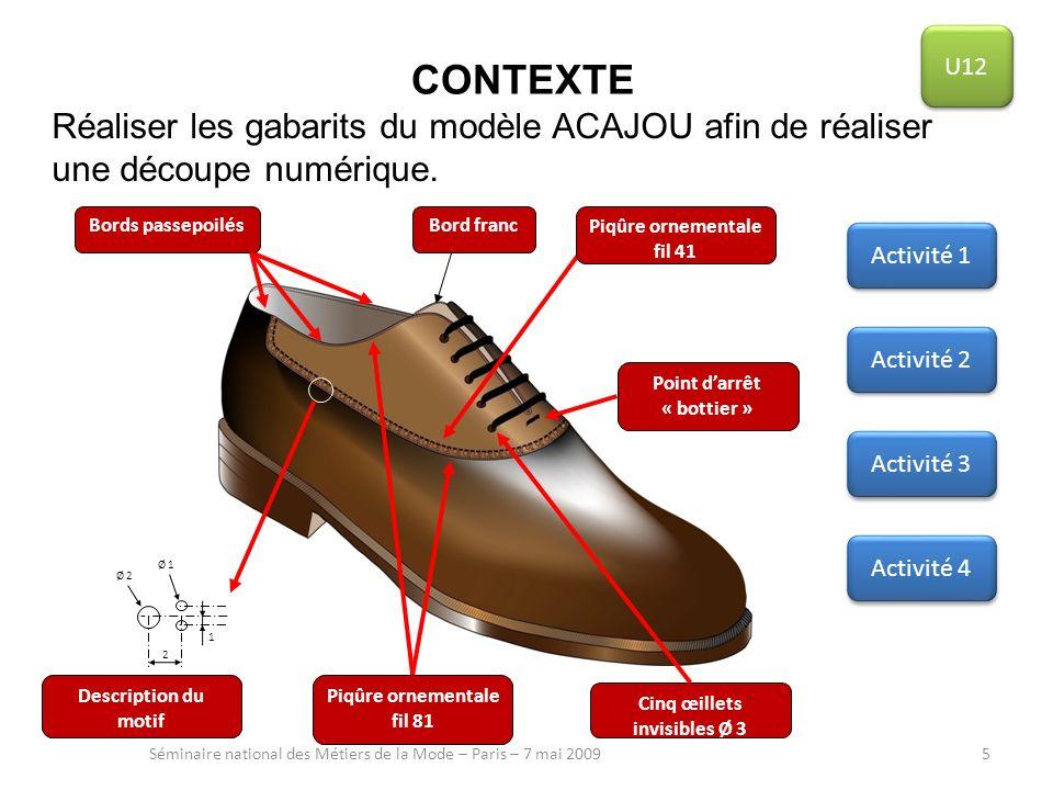 U12CONTEXTE. Réaliser les gabarits du modèle ACAJOU afin de réaliser une découpe numérique. 2. 1. Point d'arrêt « bottier »