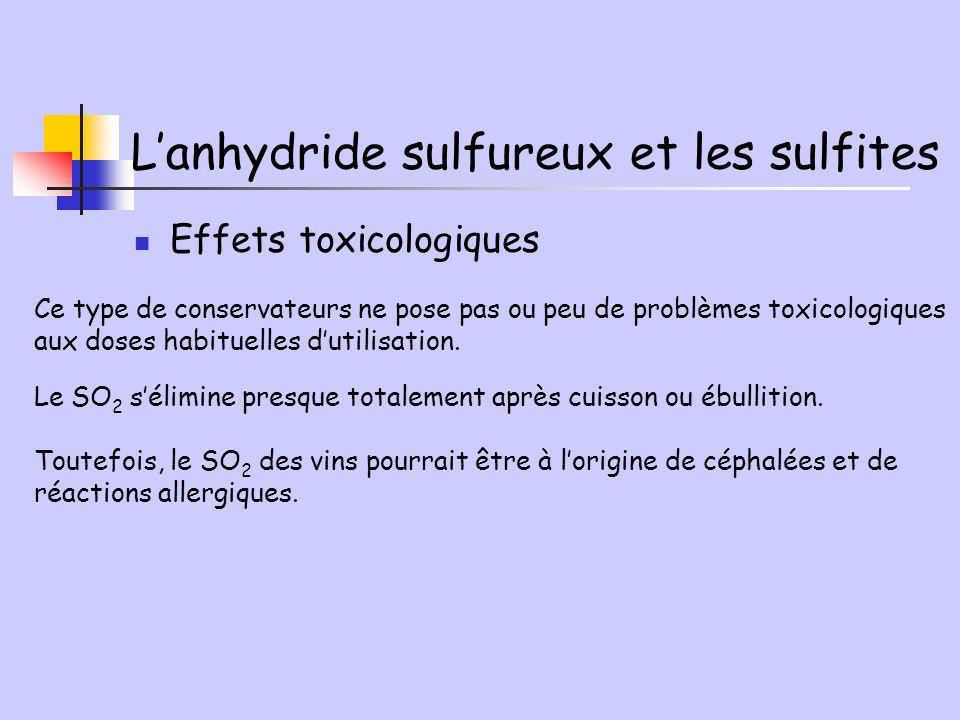 L'anhydride sulfureux et les sulfites
