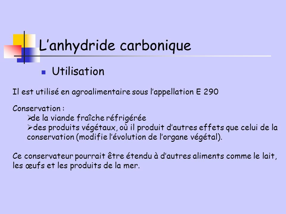L'anhydride carbonique