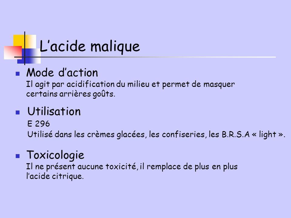 L'acide malique Mode d'action Utilisation Toxicologie E 296