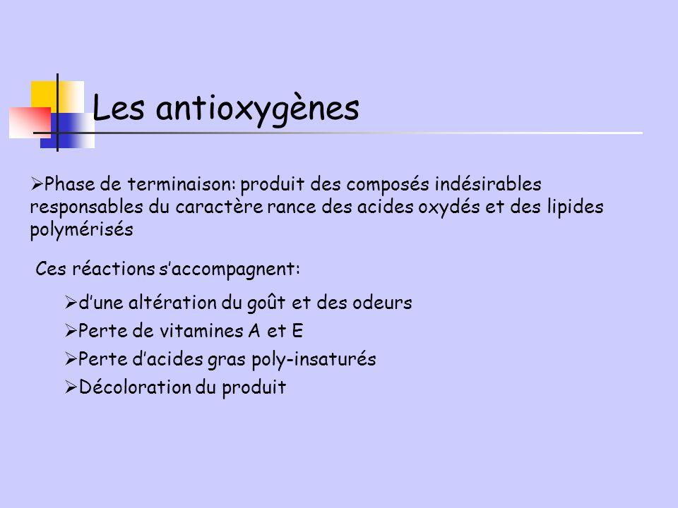 Les antioxygènes Phase de terminaison: produit des composés indésirables responsables du caractère rance des acides oxydés et des lipides polymérisés.