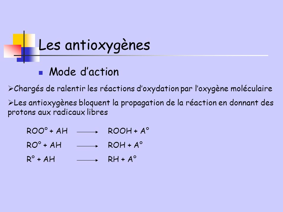 Les antioxygènes Mode d'action
