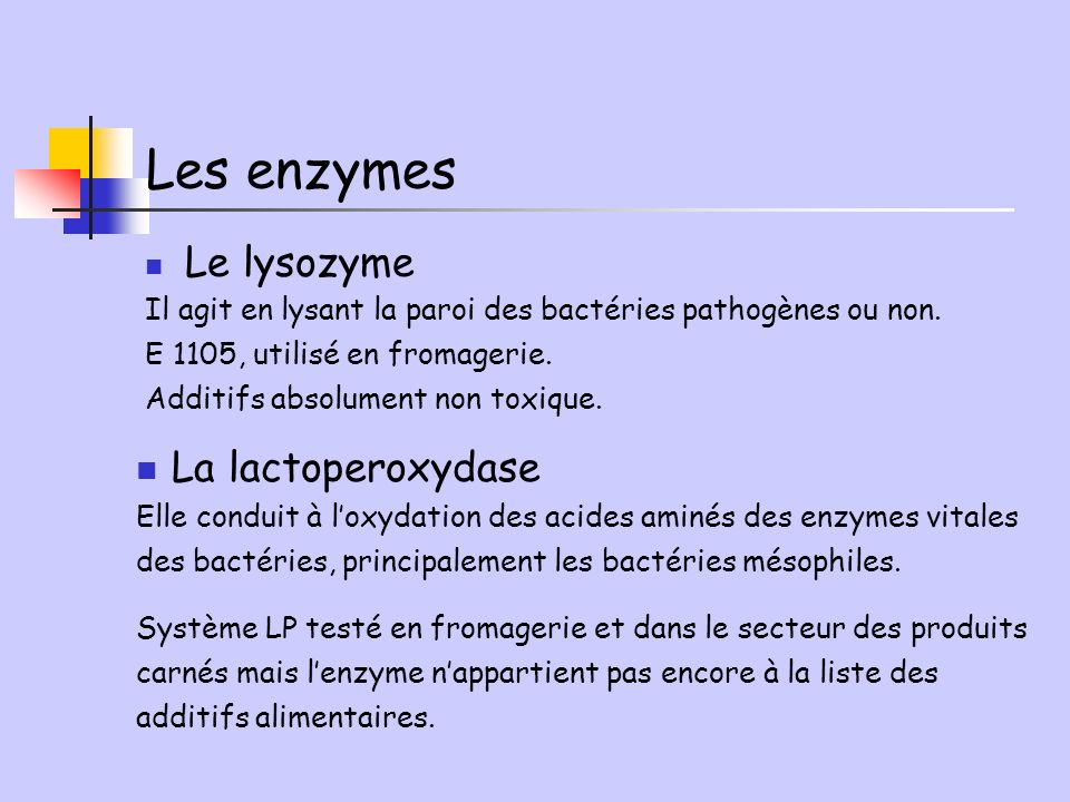 Les enzymes La lactoperoxydase Le lysozyme