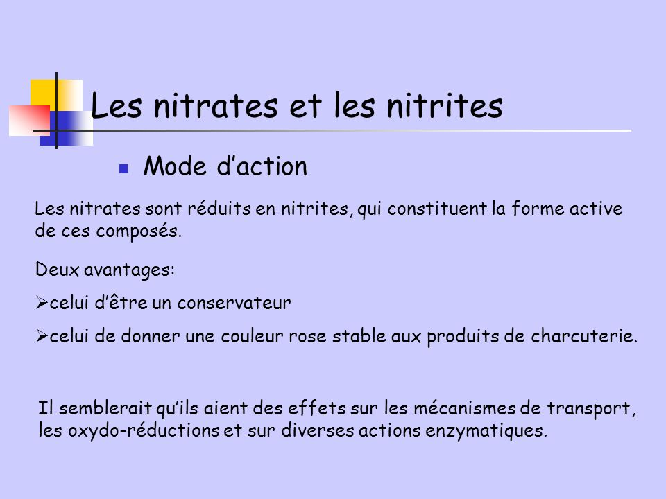 Les nitrates et les nitrites