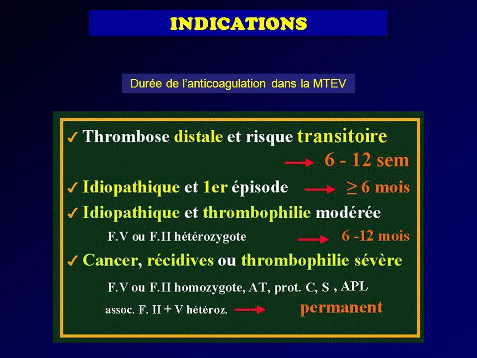 Durée de l'anticoagulation dans la MTEV