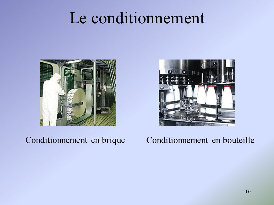 Le conditionnement Conditionnement en brique