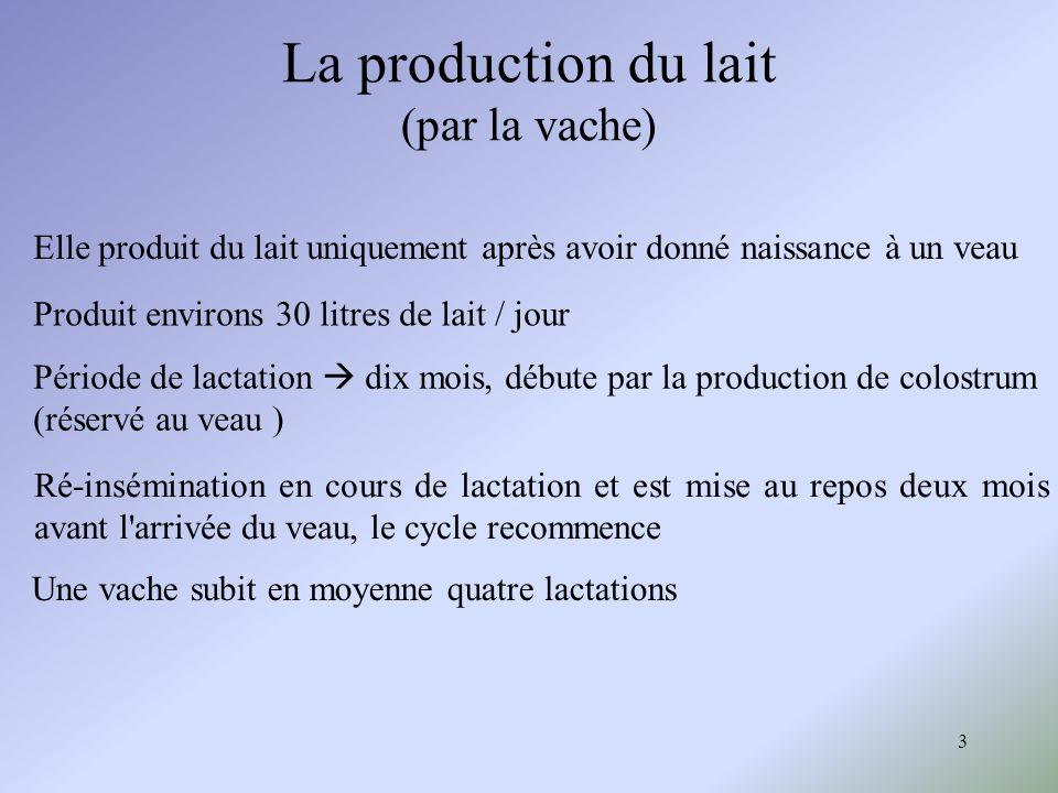 La production du lait (par la vache)
