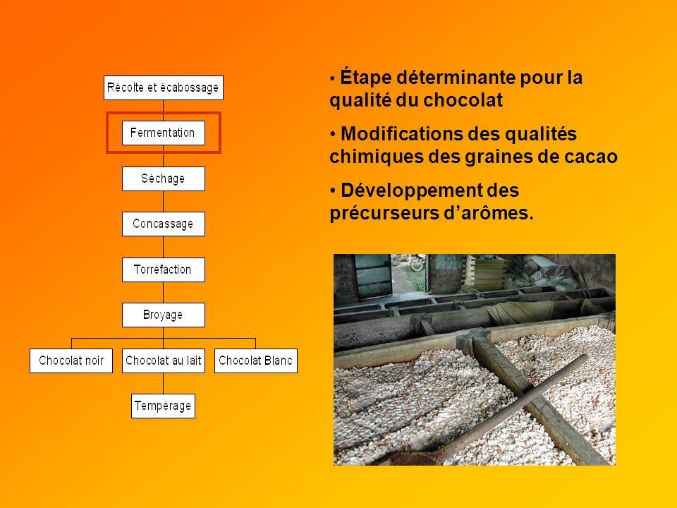 Modifications des qualités chimiques des graines de cacao