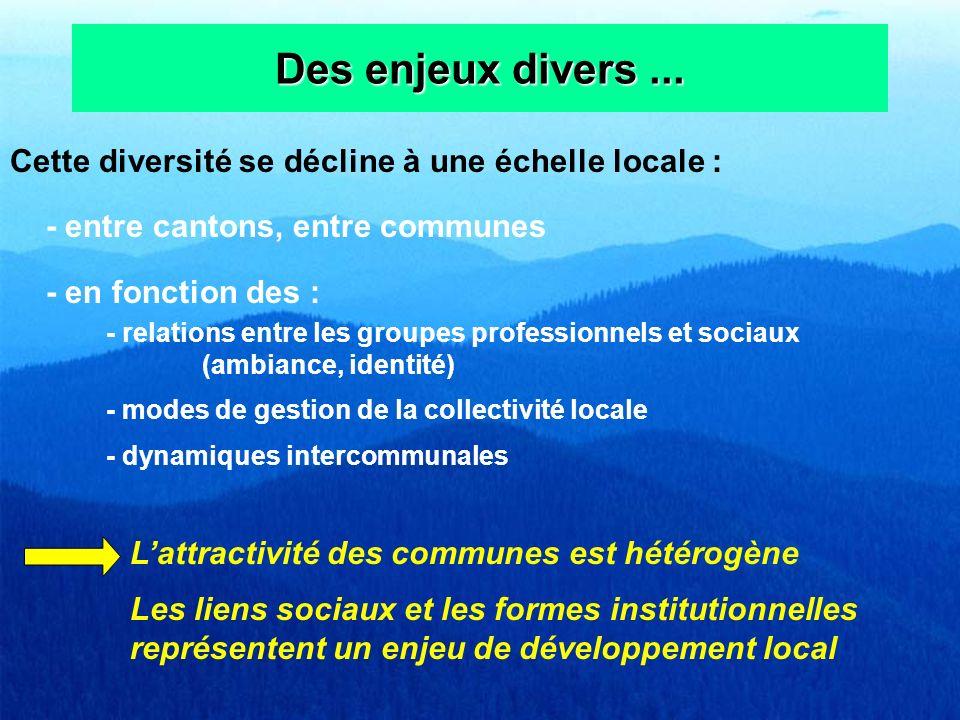 Des enjeux divers ... Cette diversité se décline à une échelle locale : - entre cantons, entre communes.