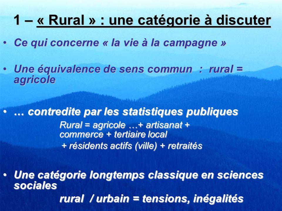 1 – « Rural » : une catégorie à discuter
