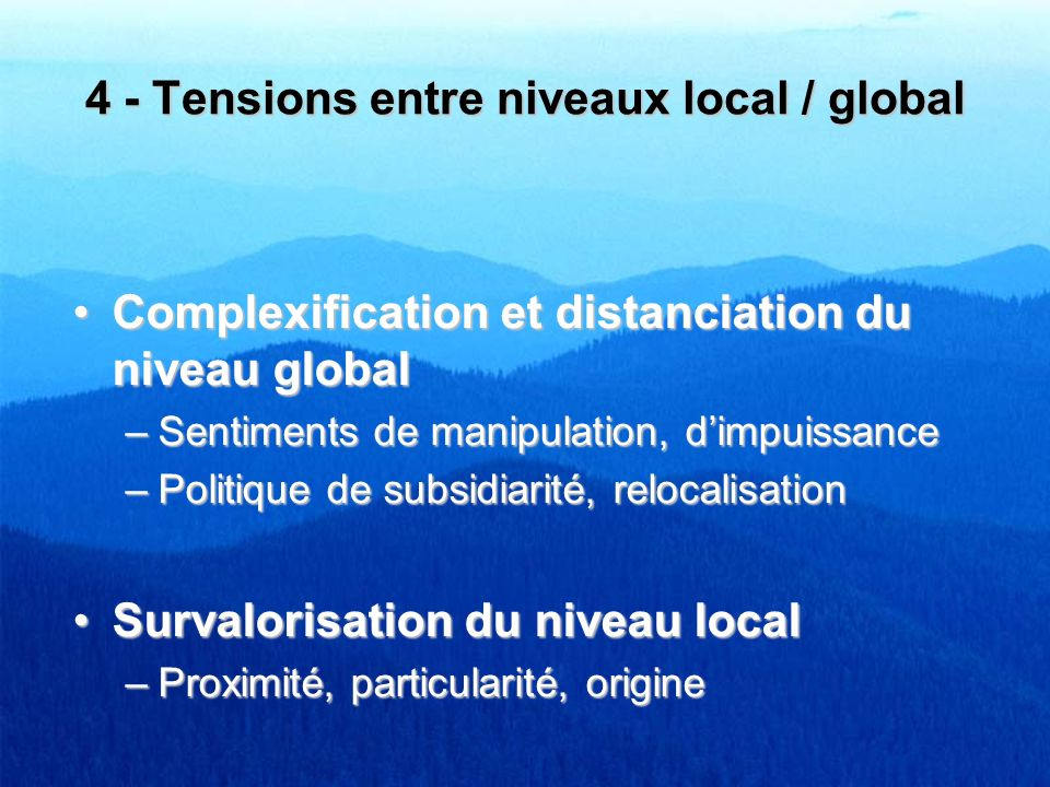 4 - Tensions entre niveaux local / global