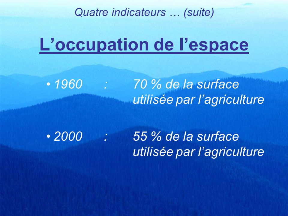 Quatre indicateurs … (suite) L'occupation de l'espace