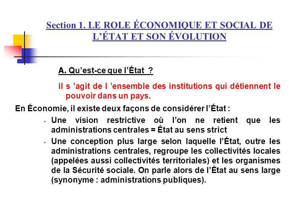 Section 1. LE ROLE ÉCONOMIQUE ET SOCIAL DE L'ÉTAT ET SON ÉVOLUTION