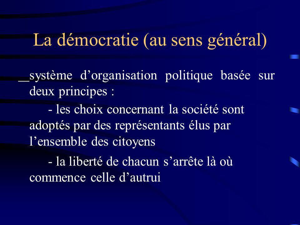 La démocratie (au sens général)