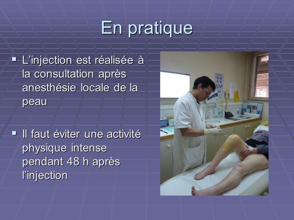 En pratique L'injection est réalisée à la consultation après anesthésie locale de la peau.