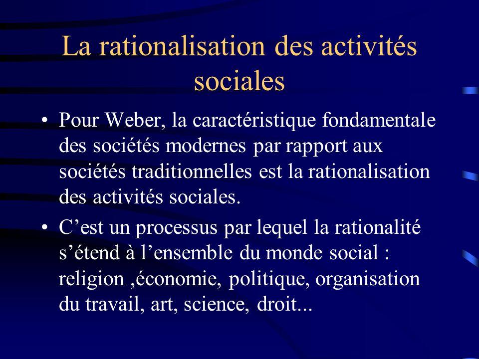 La rationalisation des activités sociales