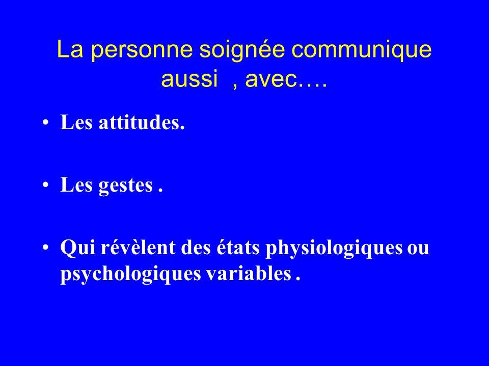 La personne soignée communique aussi , avec….