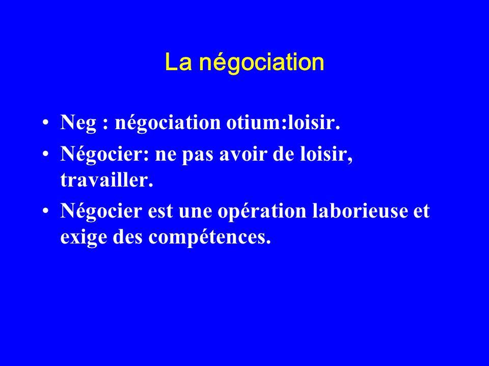 La négociation Neg : négociation otium:loisir.