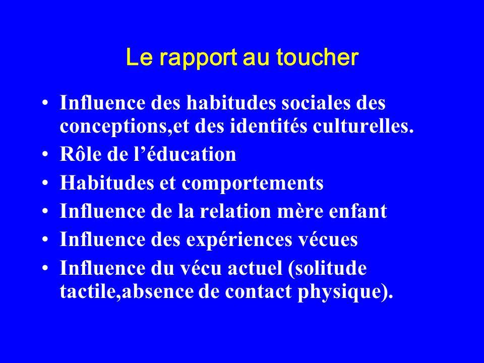 Le rapport au toucherInfluence des habitudes sociales des conceptions,et des identités culturelles.