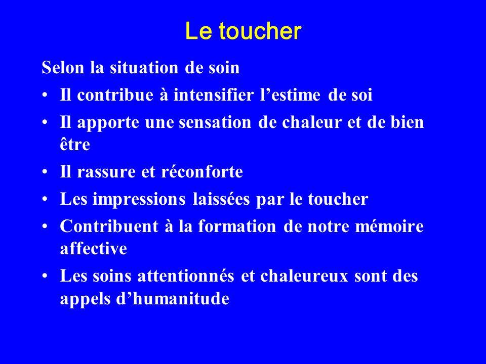 Le toucher Selon la situation de soin