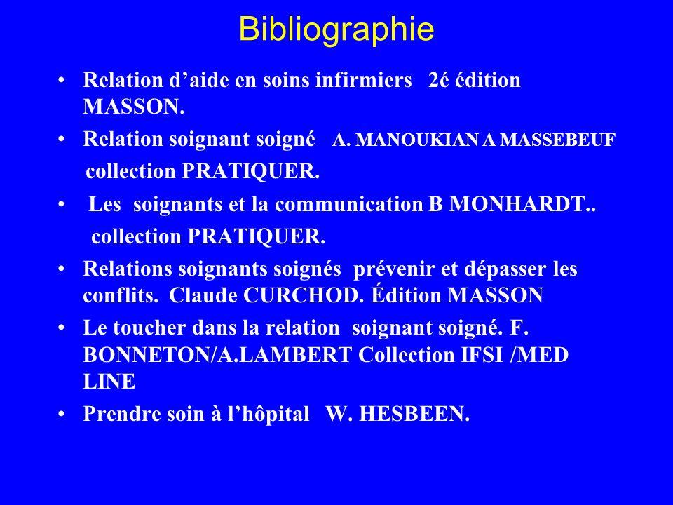 Bibliographie Relation d'aide en soins infirmiers 2é édition MASSON.