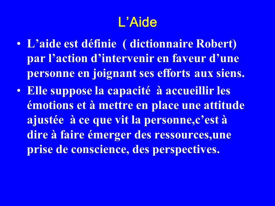L'Aide L'aide est définie ( dictionnaire Robert) par l'action d'intervenir en faveur d'une personne en joignant ses efforts aux siens.