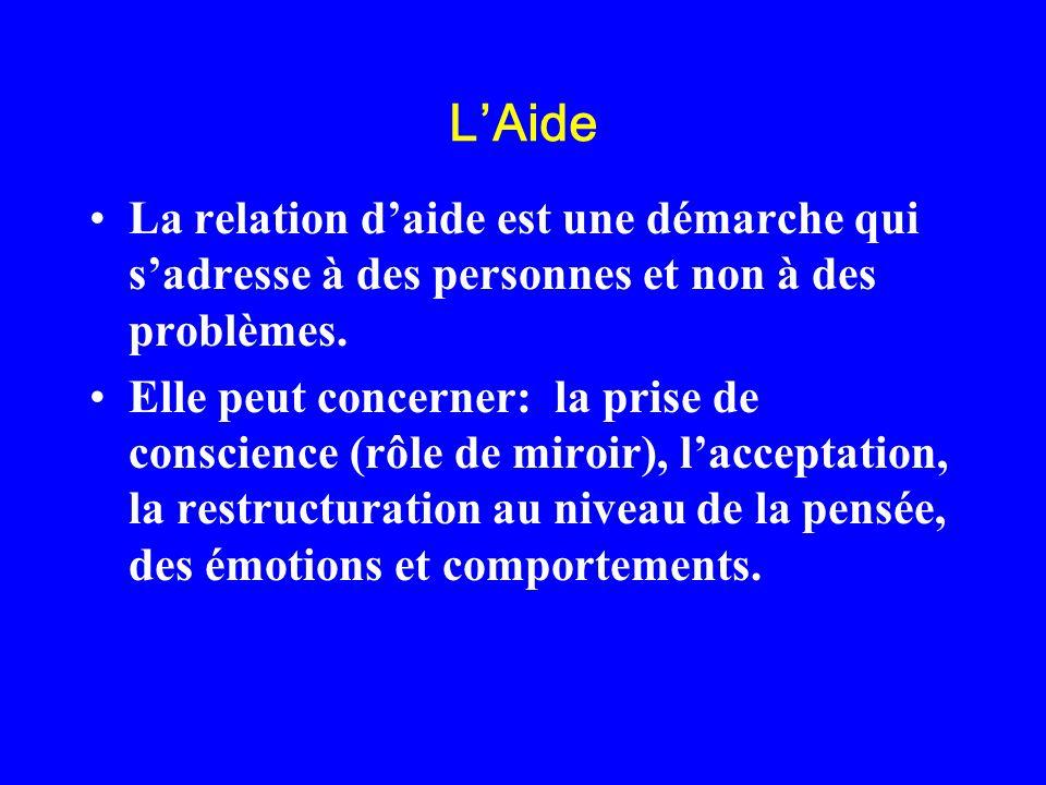L'AideLa relation d'aide est une démarche qui s'adresse à des personnes et non à des problèmes.