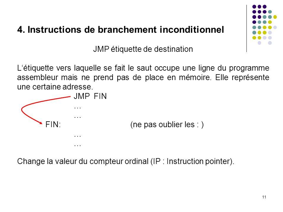 JMP étiquette de destination