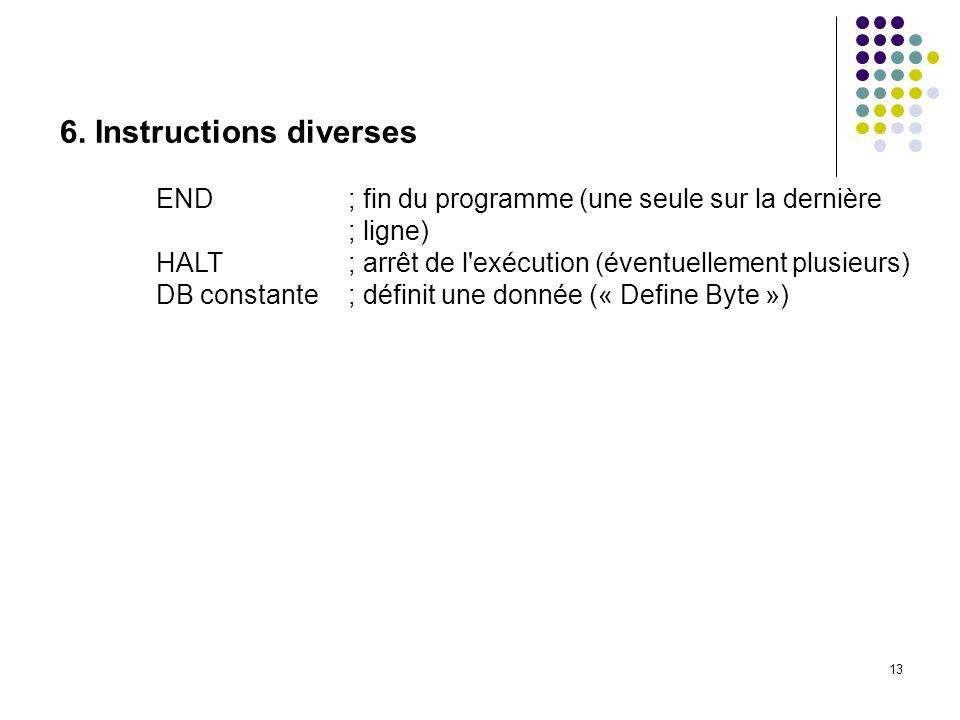 6. Instructions diverses