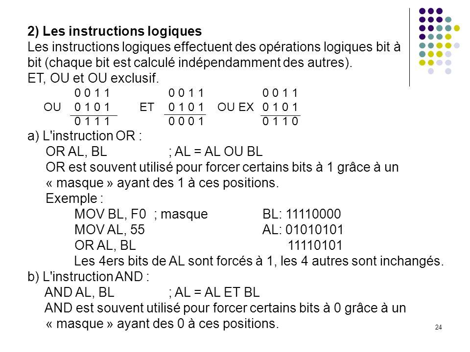 2) Les instructions logiques