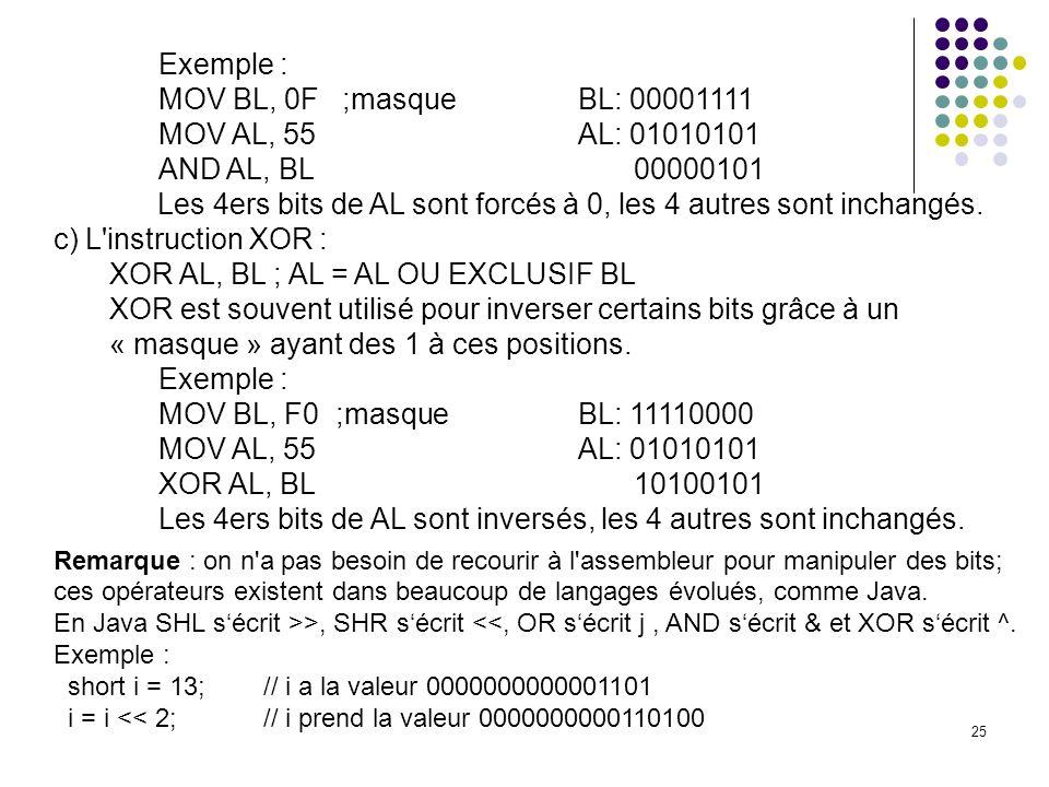 Les 4ers bits de AL sont forcés à 0, les 4 autres sont inchangés.