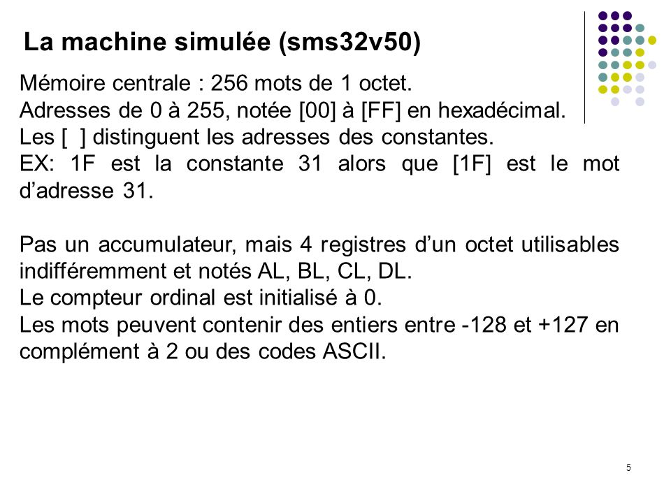 La machine simulée (sms32v50)