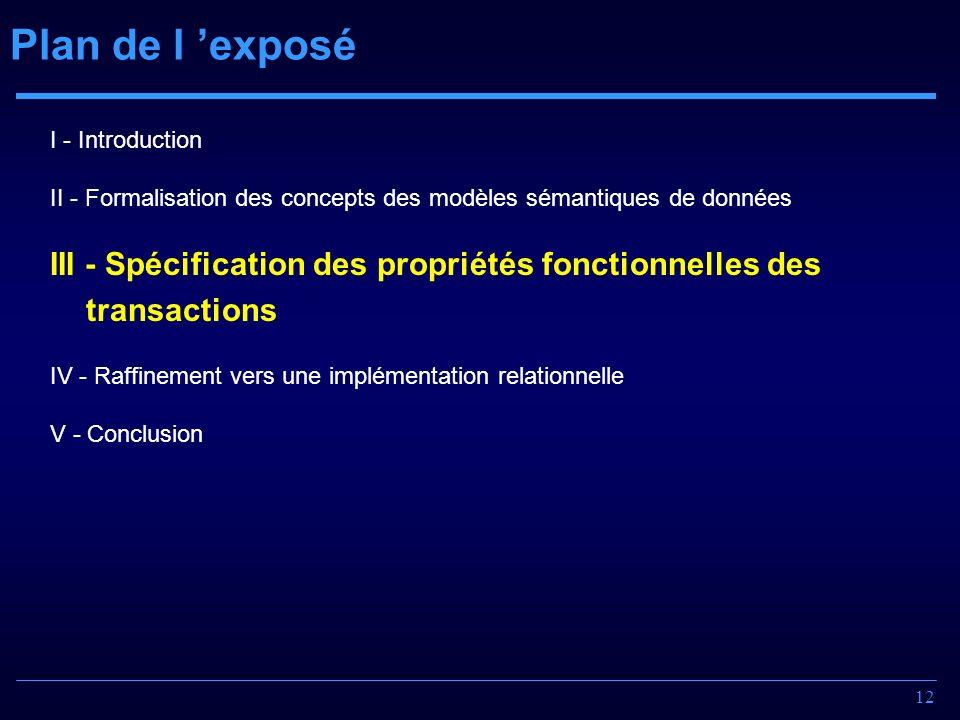 Plan de l 'exposé I - Introduction. II - Formalisation des concepts des modèles sémantiques de données.