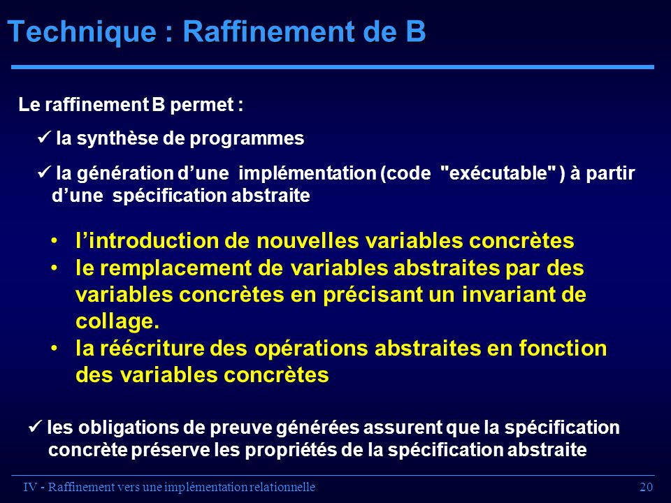 Technique : Raffinement de B